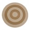 Alfombra rústica redonda hecha a mano marrón de algodón y polipropileno de 150 cm