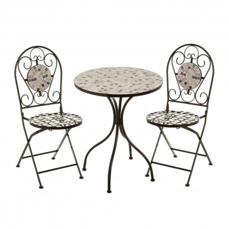 Conjunto de mesa y sillas con mosaico negro de metal y cerámica rústico