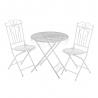 Conjunto de mesa y sillas con calado blanco de metal clásico