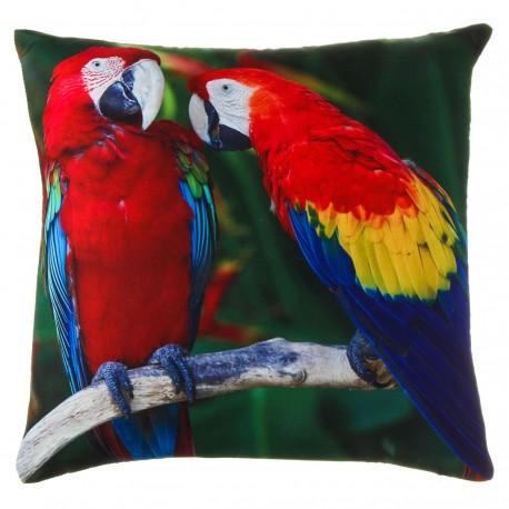 "Cojín cuadrado ""parrots"" multicolor 40 x 40 cm 100% poliéster"