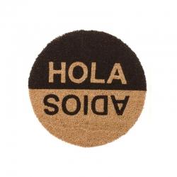 Felpudo Hola y Adios redondo fibra coco 45x45 cm