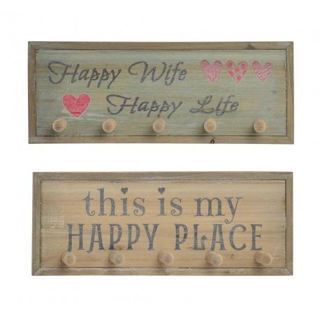 Set 2 Percheros de pared madera Happy life surtido