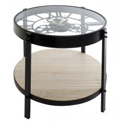 Mesita auxiliar factory cristal con reloj 40x39 cm