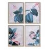 Set 4 cuadro lienzo madera hoja enmarcado
