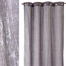 "Cortina bordada ""jeans flowers"" natural gris 140 x 260 cm 8 anillas cromadas, 100% poliester"
