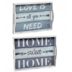 Pack 2 Bandeja de madera cristal Love