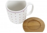 Set 4 Tazas de cafe dolomite con soporte de bambu