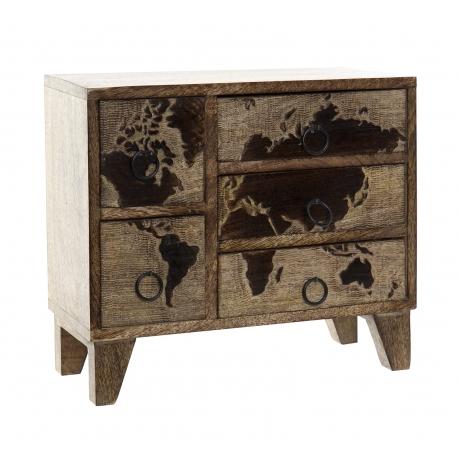Joyero organizador de 5 cajones madera mapamundo