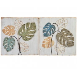 Set 2 cuadro pared madera hojas metal 60x60 cm
