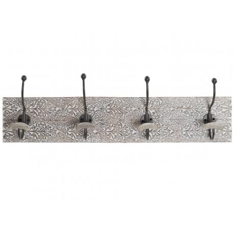 Perchero de pared madera mango hierro 4 colgadores