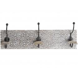 Perchero de pared madera mango hierro 3 colgadores