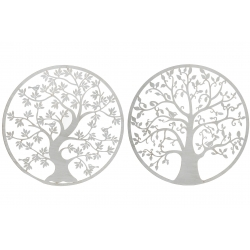 Set 2 decoracion pared metal arbol 100 cm