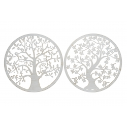 Set 2 decoracion pared metal arbol 40 cm