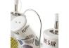 Juego de aceitera, vinagrera, salero y pimentero stoneware blanco exótico de 6x20 cm