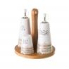 Juego de aceitera, vinagrera, salero y pimentero stoneware de madera blanco nórdico de 6x17 cm