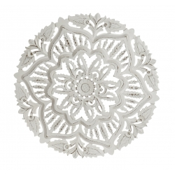 Mural decoracion tallada blanco redondo 60 cm