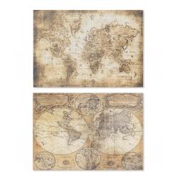 Set 2 cuadro lienzo mapa mundo 70x50 cm
