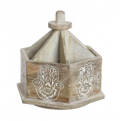Portamandos giratorio madera decape con 6 compartimentos tallado mano fatima