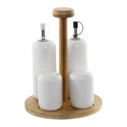 Juego de aceitera, vinagrera, salero y pimentero porcelana blanco