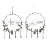Set 2 decoracion metal colgante con 4 ganchos para hogar Welcome Home