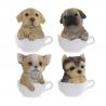Set 4 Figuritas resina perros en taza decape surtido