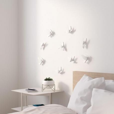 Decoracíon de pared pajaros (9) blanco