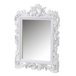 Espejo cornucopia blanco de polipropileno clásico para decoración de 59 x 79 cm Fantasy
