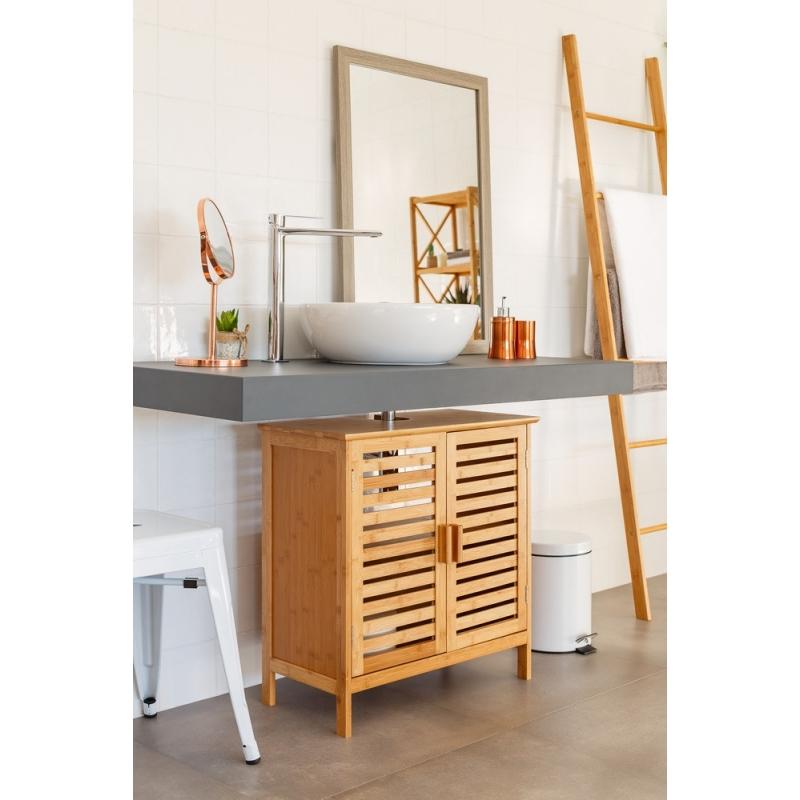 Mueble bajo lavabo nórdico marrón de bambú para cuarto de ...