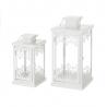 Faroles portavelas de metal blancos clásicos para decoración Vitta