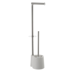 Escobillero portarrollos de baño de acero inoxidable blanco minimalista para cuarto de baño Vitta