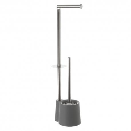 Escobillero portarrollos de baño de acero inoxidable gris minimalista para cuarto de baño Factory