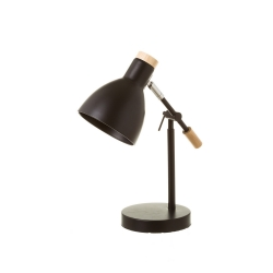 Lámpara flexo de escritorio nórdica de metal y madera negra de 36 cm