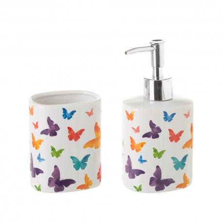 Dispensador y portacepillos de baño de cerámica blanco romántico para cuarto de baño Fantasy