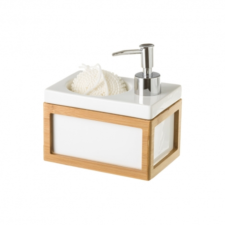 Dispensador con estropajo blanco nórdico bambú de cerámica de 15x10x9 cm