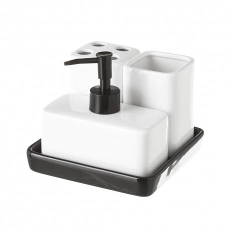Conjunto de dispensador, jabonera y portacepillos de cerámica contemporáneo blanco y negro
