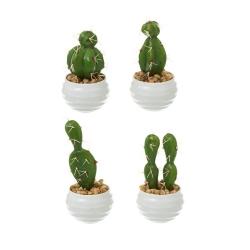 Pack 4 Cactus artificial plástico 14 cm maceta de melamina.