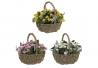 Pack 3 cesta artificial plástico margaritas
