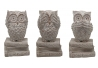 Set 3 figurita buho de suerte resina decoracion 20 cm . (ver , oir , callar )