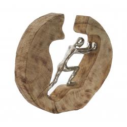 Figura decoracion madera mango persona 29x7x29 cm