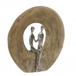 Figura decoracion madera mango pareja 23x7x25 cm