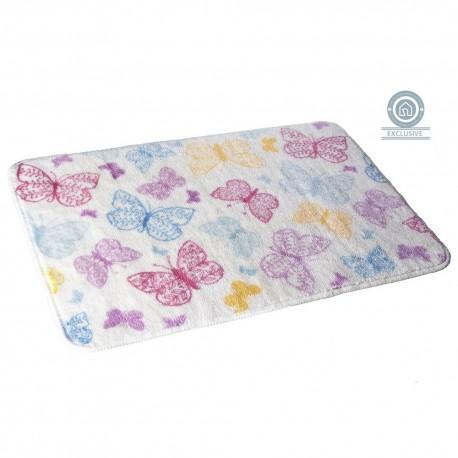 Alfombra baño moderna diseño mariposa multicolor 45x70 cm