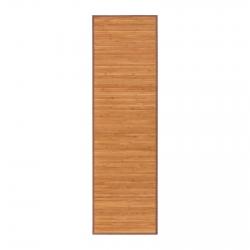 Alfombra pasillera oriental marrón de bambú de 60 x 200 cm Sol Naciente