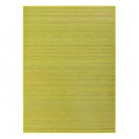 Alfombra de salón o comedor oriental verde de bambú de 180 x 250 cm Sol Naciente