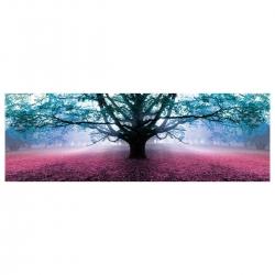Cuadro Árbol de la Vida romántico azul de lienzo para dormitorio de 150 x 50 cm Iris