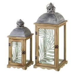 Faroles portavelas de madera marrones clásicos para decoración Arabia