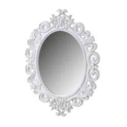 Espejo cornucopia blanco de polipropileno clásico para decoración de 60 x 80 cm Fantasy