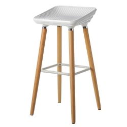 Taburete alto de madera de haya con asiento blanco de ABS