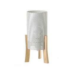 Lámpara de mesita de noche cilíndrica nórdica de metal y madera blanca de 30 cm