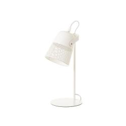 Lámpara foco calado vintage de metal blanca de 38 cm