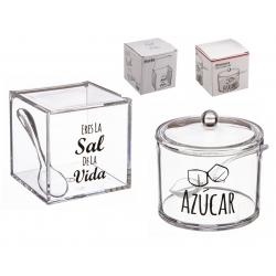 Salero y azucarero de cocina super original acrilico diseño frases .